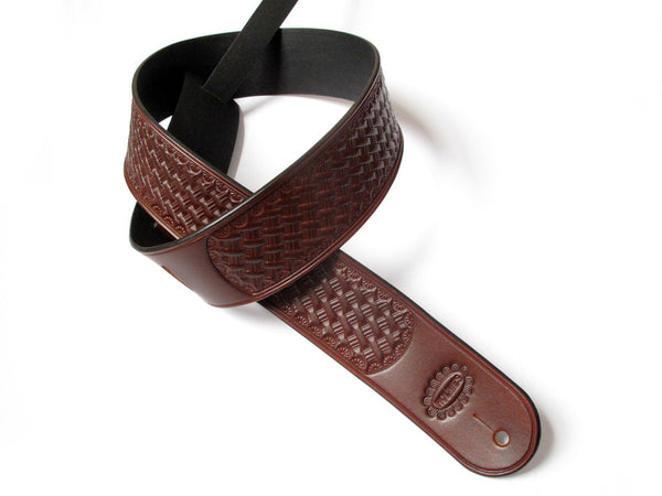 Basket Stamped Leather Guitar Strap