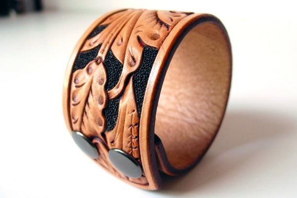 Tan & Black Wild Rose Cuff