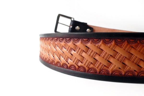 Brown and Tan Basket Stamped Belt