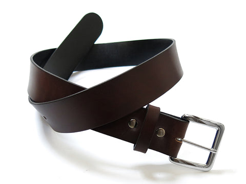 "Handmade HOLMES Basic Leather Belt / Chocolate / 30"" - 34"""