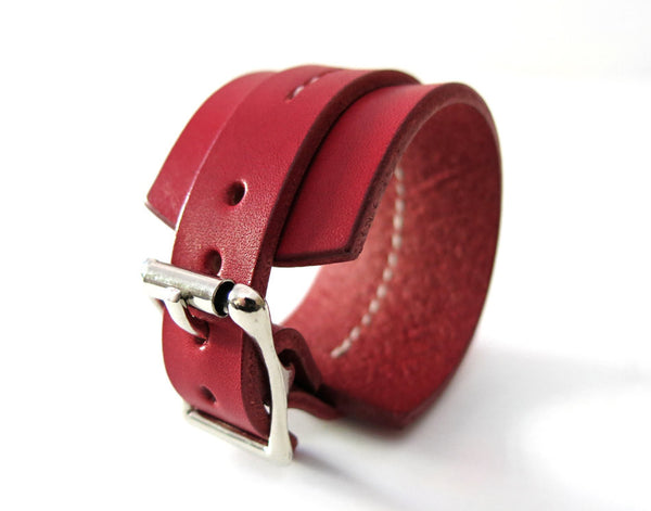 Red One Strap Saddle Stitch Cuff