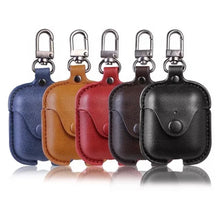 Load image into Gallery viewer, Leather Button Clip AirPod Case - 4 Colors Available