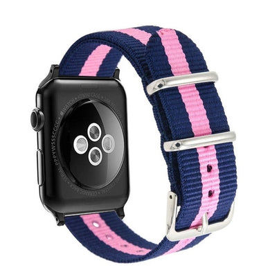 Navy Blue and Pink Nylon Apple Watch Band