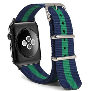 Navy and Green Nylon Apple Watch Band