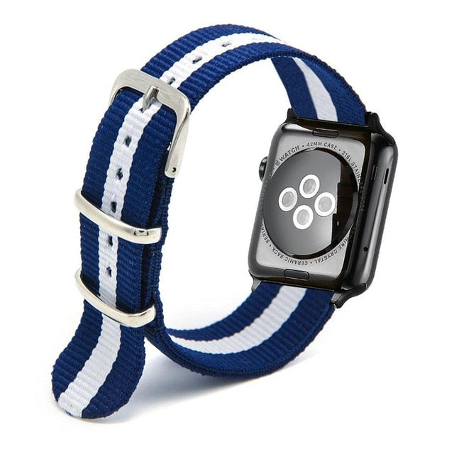 White and Blue Apple Watch Nylon Band