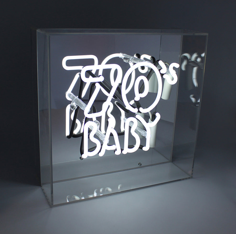 '70's Baby' Acrylic Box Neon Light