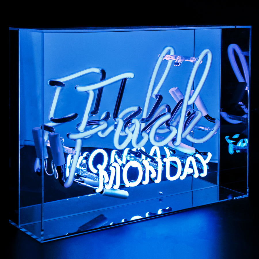 Blue 'Fuck Monday' Large Acrylic Box Neon Light