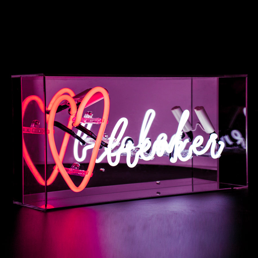 Red and White 'Heart Breaker' Acrylic Box Neon Light