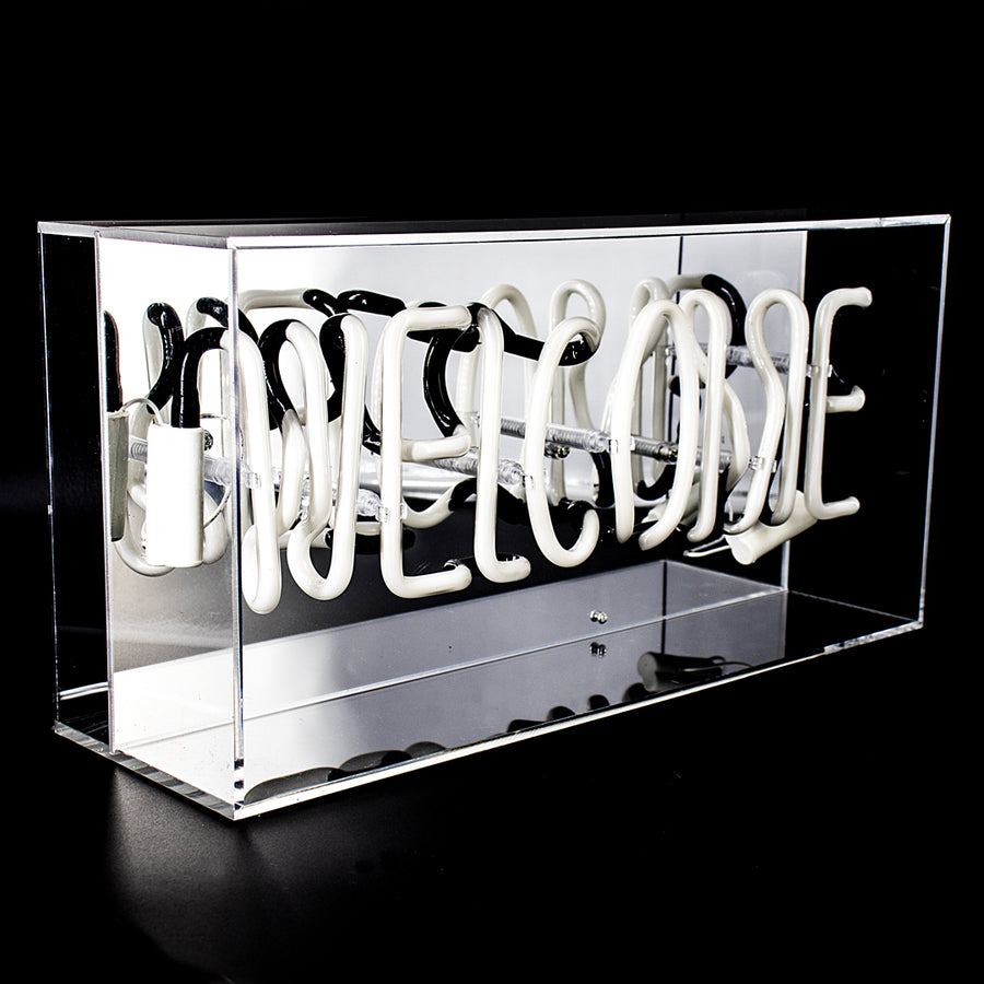 Pink 'Welcome' Acrylic Box Neon Light