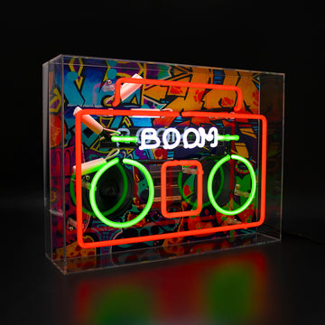 'Boom Box' Large Acrylic Box Neon Light with Graphic
