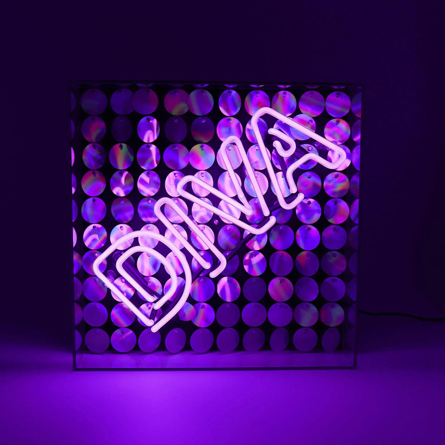 'Diva' Acrylic Box Neon Light with Sequins