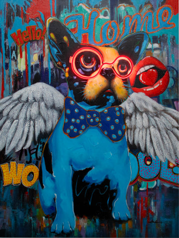 'Dog with Wings' Wall Artwork - LED Neon