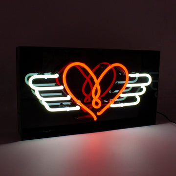 'Flying Heart' Acrylic Box Neon
