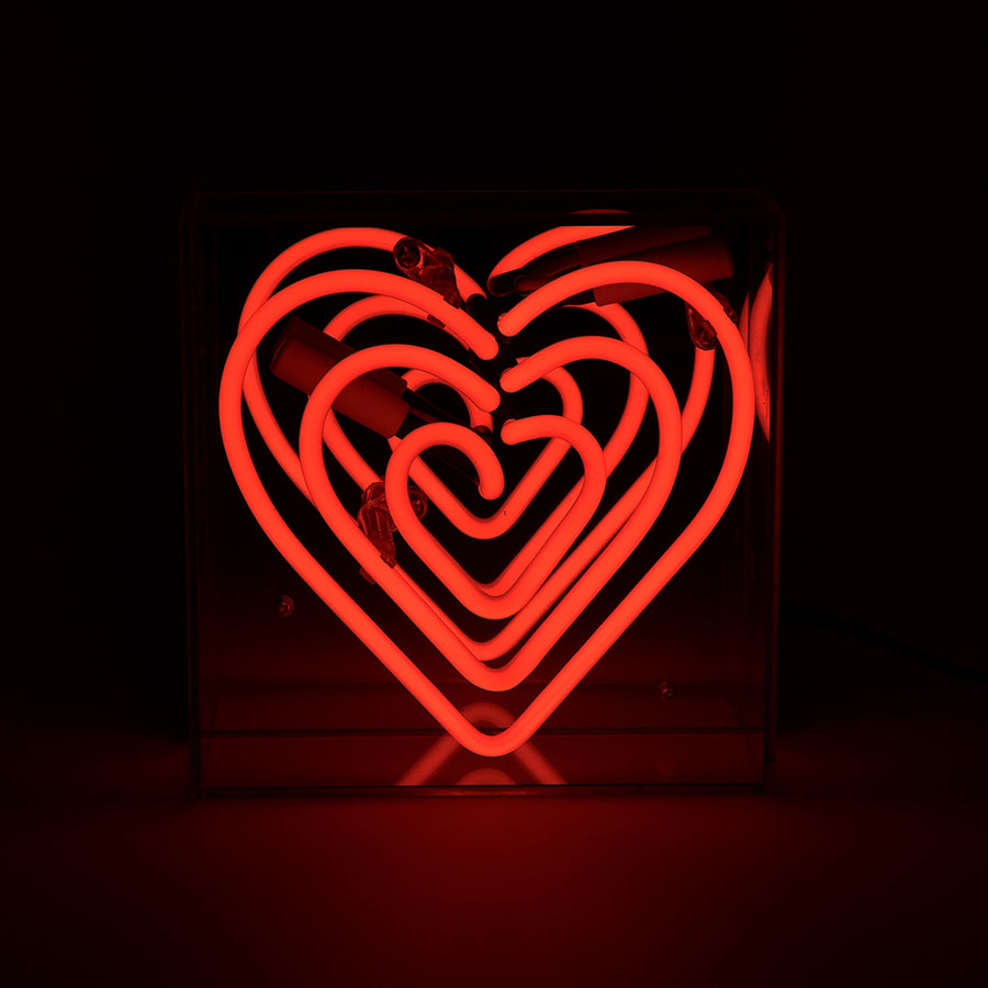 'Heart' Mini Acrylic Box Neon Light