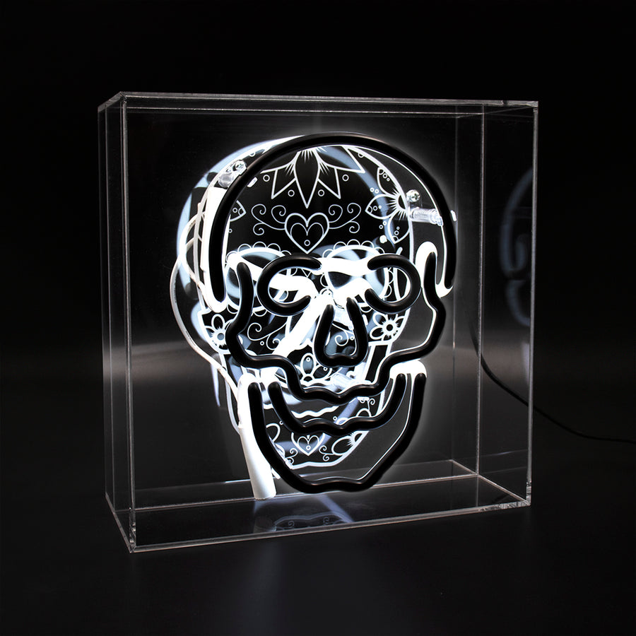 'Skull' Large Acrylic Box - Reverse Neon Light with Graphic