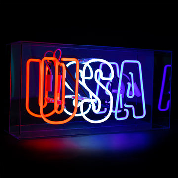'USA' Acrylic Box Neon Light