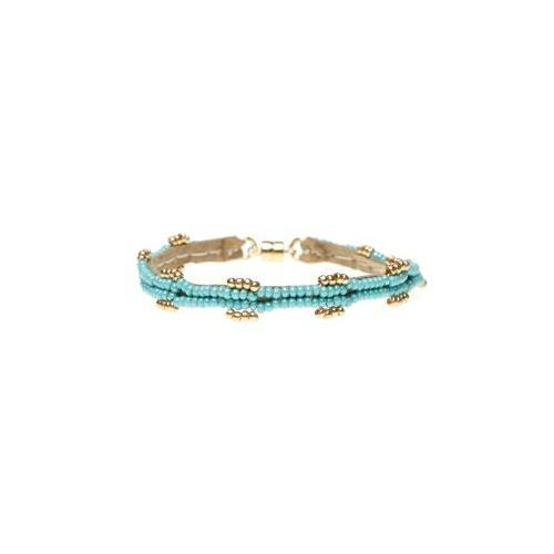 Turquoise Double Beaded Leather Bracelet