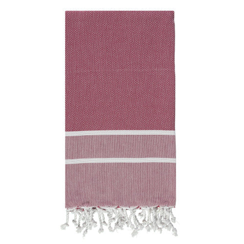 Burgundy Herringbone Hammam Towel