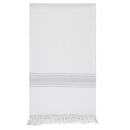 White and Grey in Stripes Hammam Towel