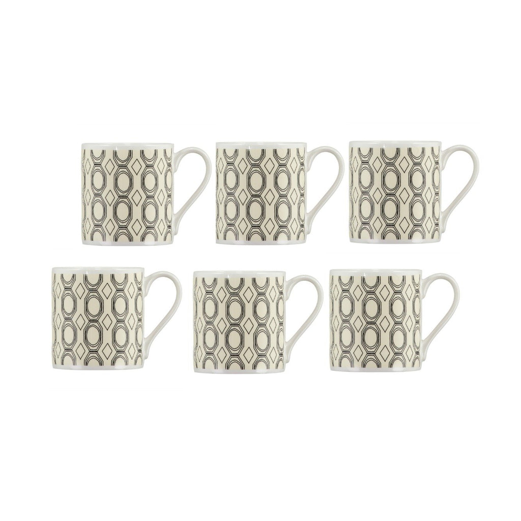 Set of 6 Cirque Musa Mugs - Black