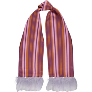 Naima Burnt Cherry Silk Twill Scarf | Goose Nagoire Trim