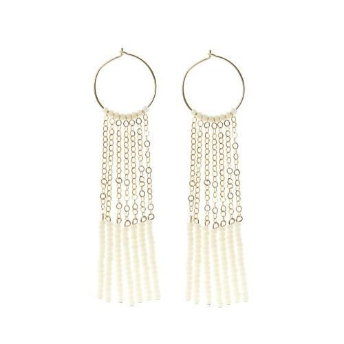 Endito Long Hoop Earrings in Off White and Gold