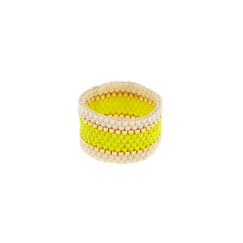 Grey, Cream and Gold Wide Woven Ring