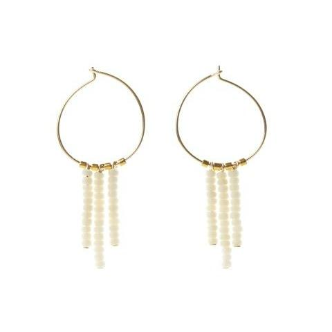 Kisongo 3 Drop Small Hoop Earrings in Off White and Gold