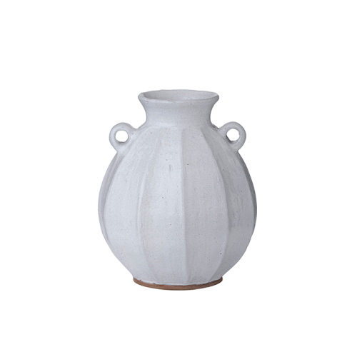 White Clay Pot with Handles (Small)