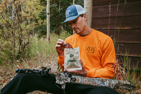 Nothing like a piece of Turkey Jerk and a tech bow.