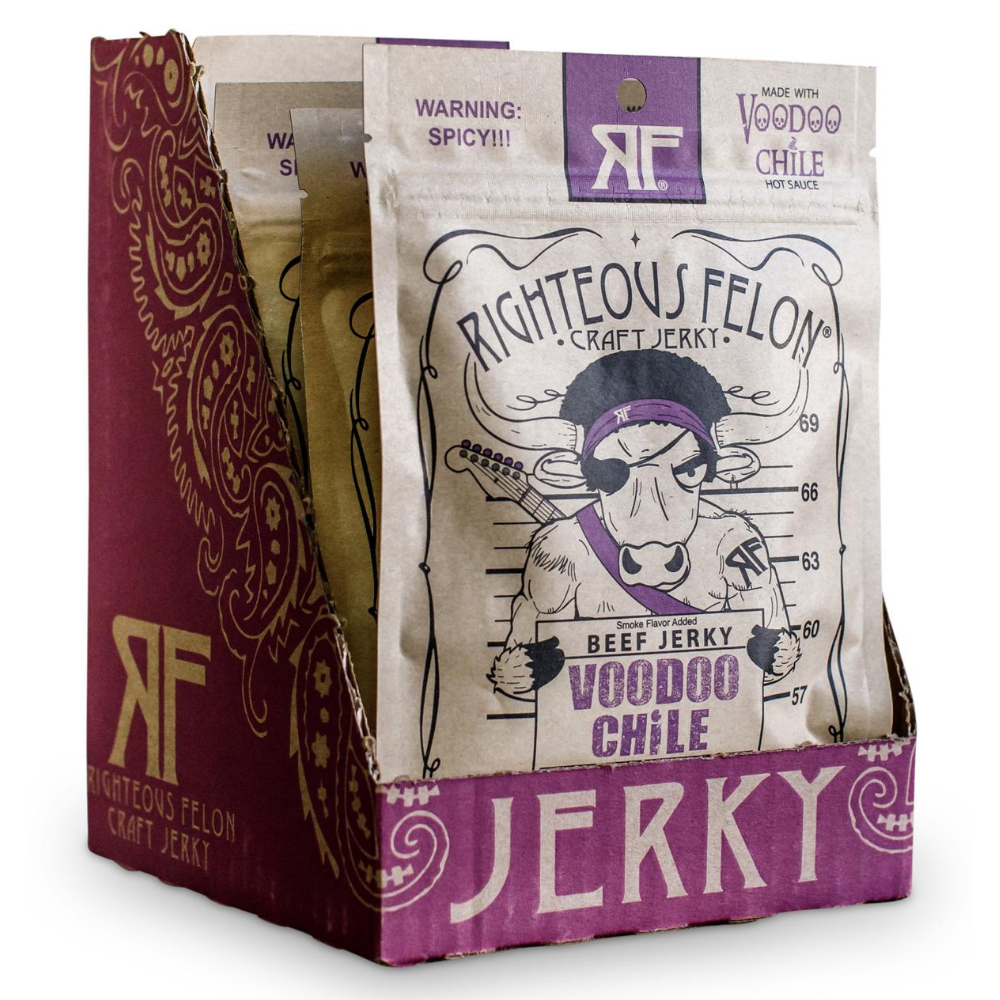 Righteous Felon Voodoo Chile Beef Jerky 2oz (8ct)