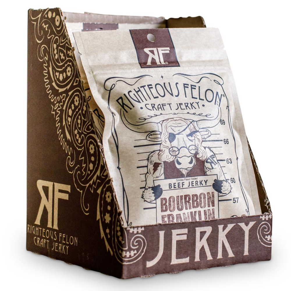Righteous Felon Bourbon Franklin Beef Jerky 2oz (8ct)