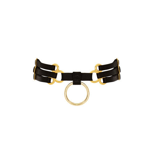This sublime black multi-strap collar with 24k gold coated hardware is the perfect accessory to any bordello outfit.