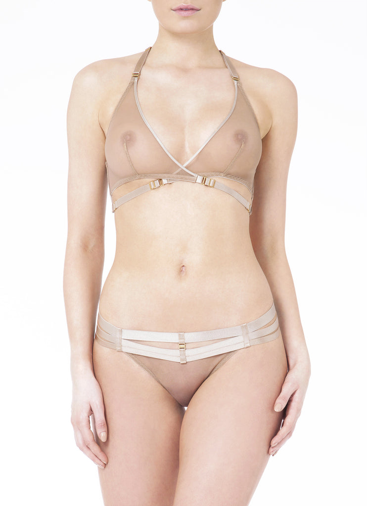 Art Deco Mesh Wrap Bra