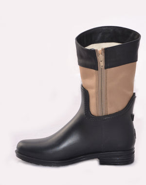 Women's fashion weatherproof dav rainboot Coventry Nylon Mid Black/Khaki