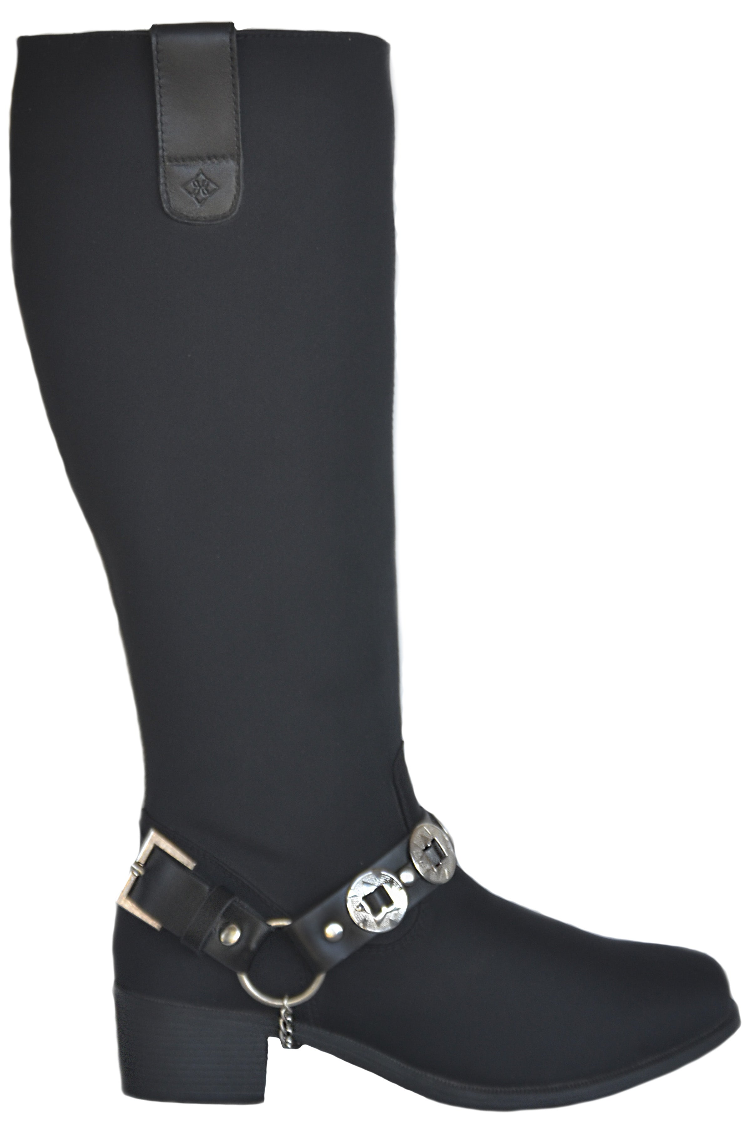 MANHATTAN BREATHABLE WATERPROOF NYLON TALL BOOT WITH CONCHO BELT
