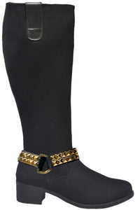 MANHATTAN BREATHABLE WATERPROOF NYLON TALL BOOT WITH GOLD PYRAMID BELT