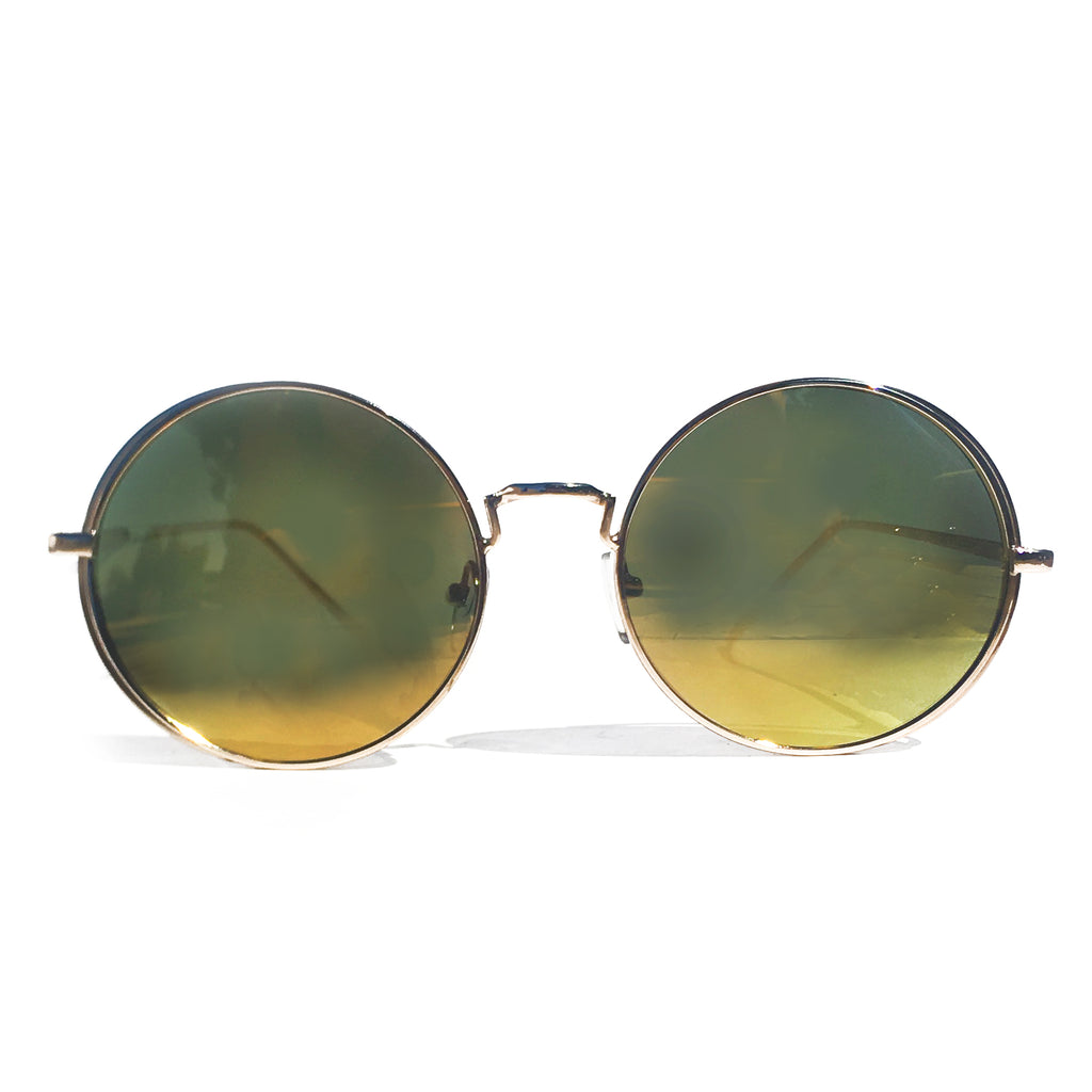 OJAI ROUND SUNGLASS IN GOLD WITH MIRROR
