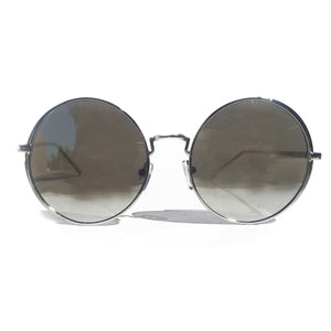 OJAI ROUND SUNGLASS IN SILVER WITH MIRROR