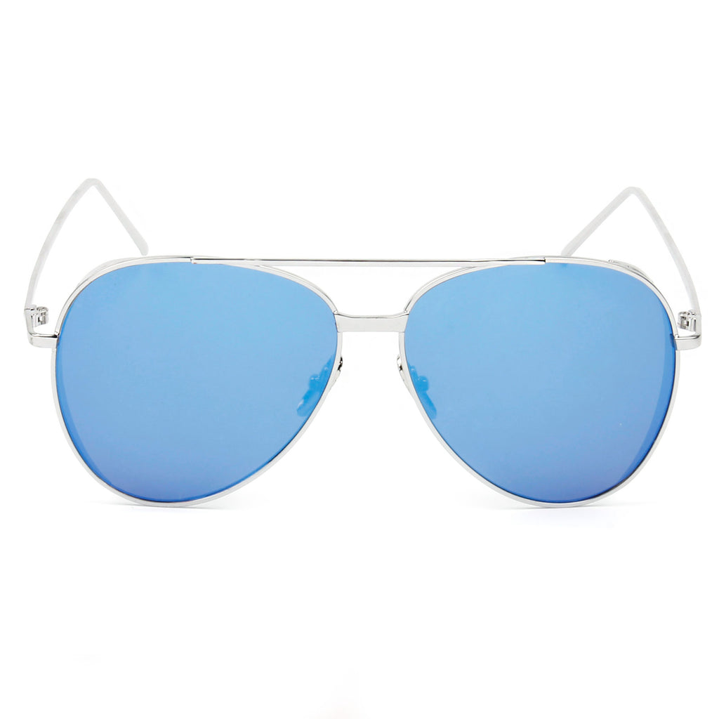 RECIFE SUNGLASS IN SILVER WITH BLUE MIRROR LENS