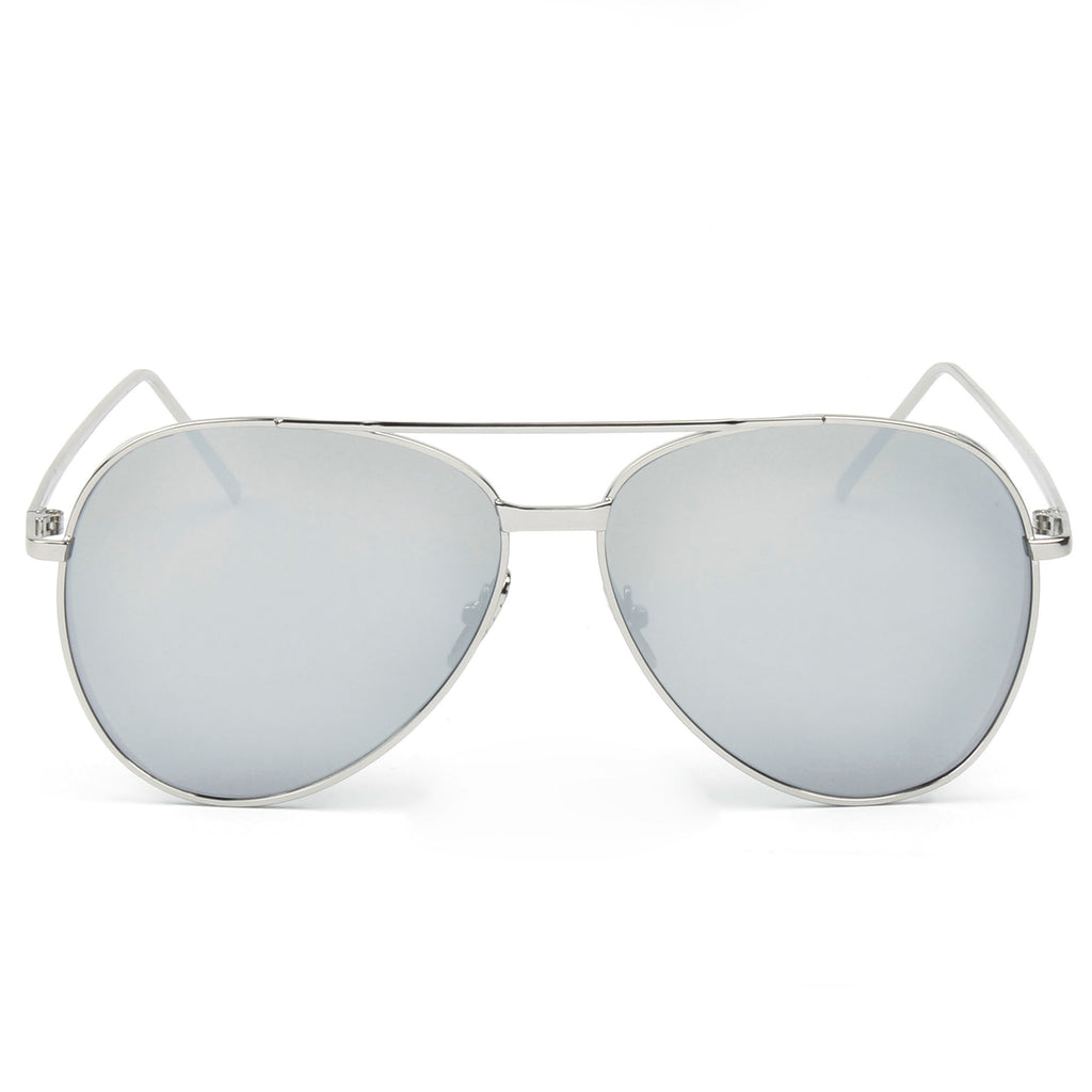 RECIFE SUNGLASS IN SILVER WITH SILVER MIRROR LENSES