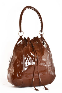 Large Vinyl Slouch Handbag Dark Brown