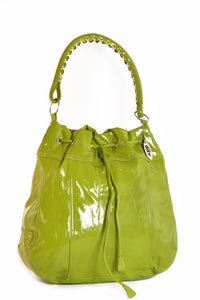 Large Vinyl Slouch Handbag Lime