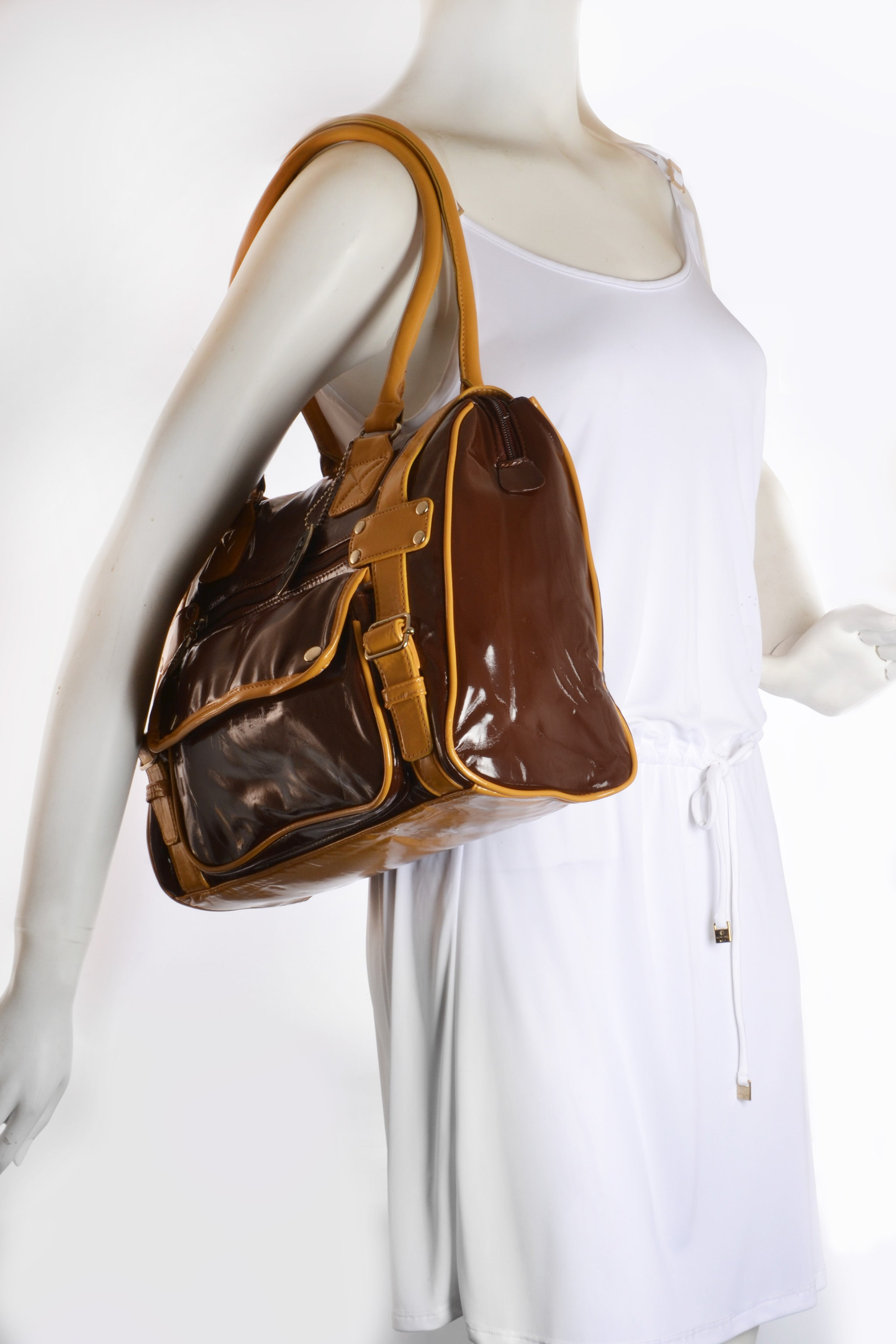 MEDIUM SIZE SATCHEL IN BROWN AND GOLD