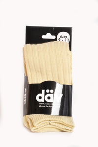 Over-the-Knee Cable Knit Socks Cream
