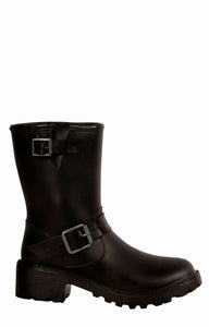 Women's fashion waterproof dav rainboot Moto Gunmetal