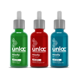 Unloc Mixify 3 Serum Combo - Skin Glow Serum + Anti Acne Serum + Anti Aging Serum