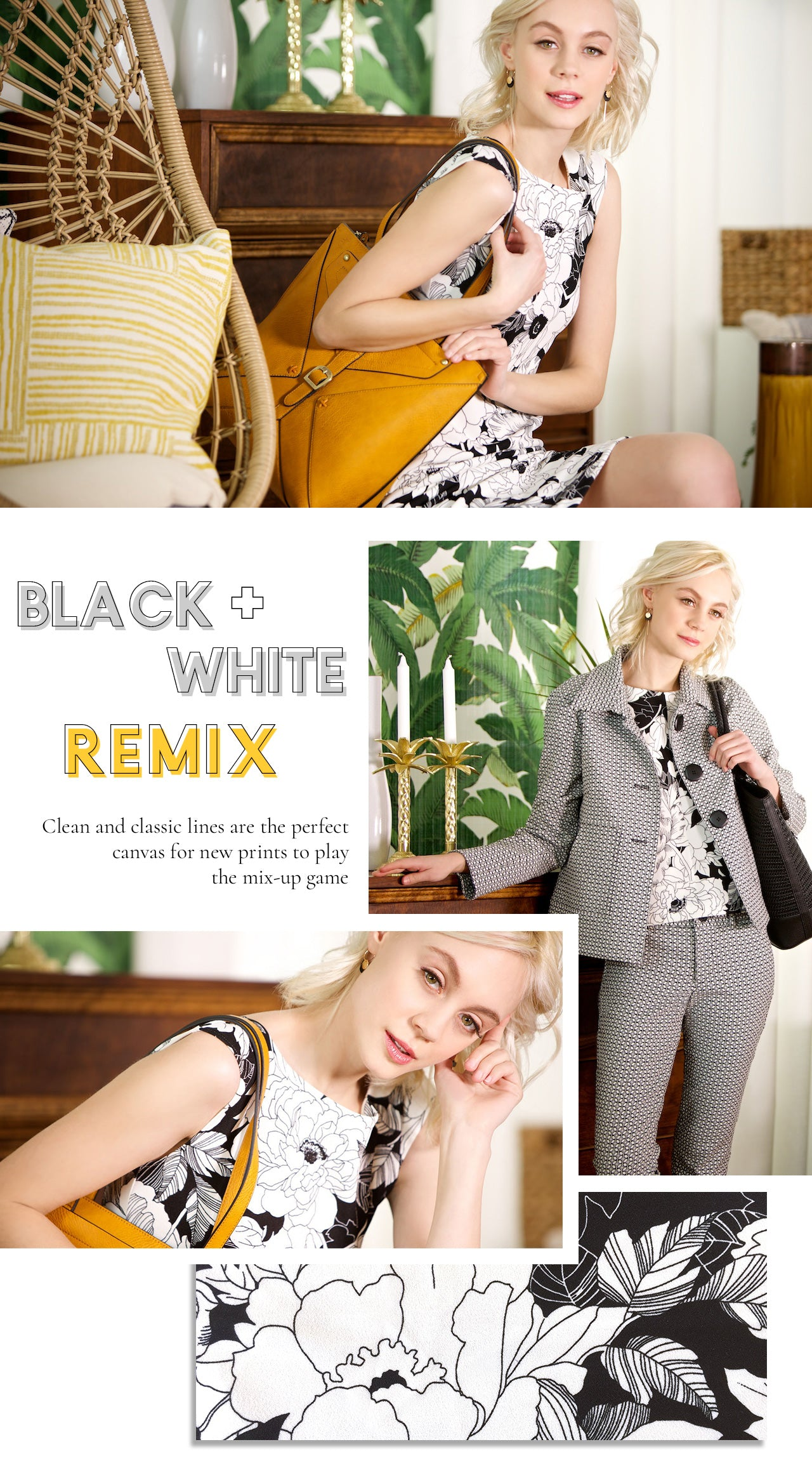 Bergstrom Black and white pattern mixing