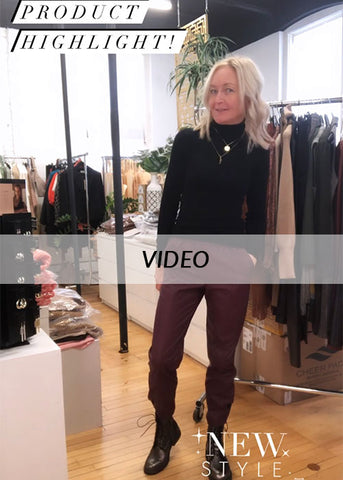 B.Young Faux Leather Joggers video