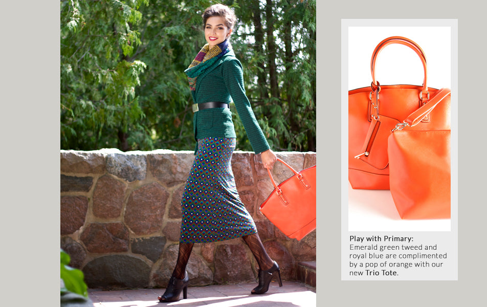 hunter green tweed blazer with orange tote